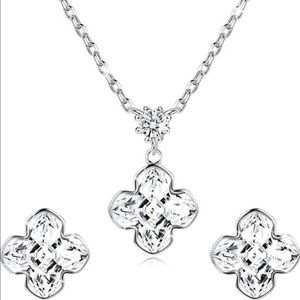 925 Sterling Silver Flower Necklace and Earrings